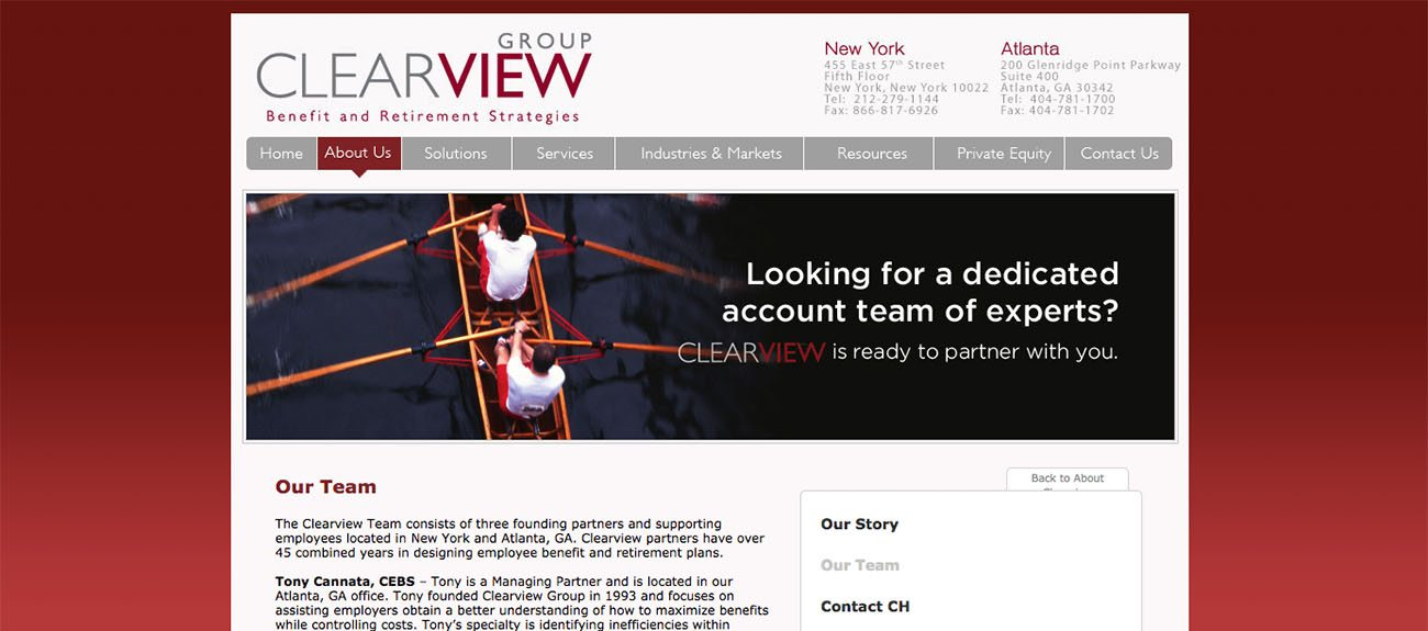 Clearview Advisory Website before New Web Design