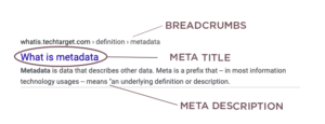 visual display of meta data in search results