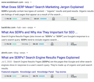 visual of moz bar SERPs results